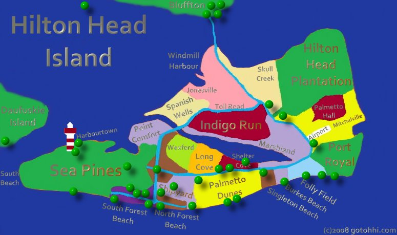 Hilton Head S Best Interactive Island Hotel Map Hover Your Mouse Over A Marker For Details